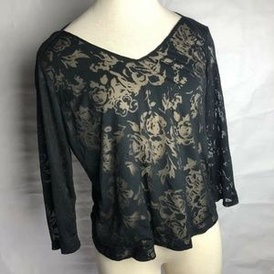 The Limited Womans Black Sheer Long Sleeve Floral
